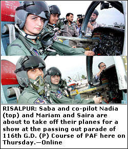 RISALPUR, March 30: Pakistan Air Force on Thursday welcomed the first four women pilots into its cadre with ceremonial pomp and aerial acrobatics at a grand