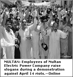 Six rioters arrested in Multan: Mepco losses Rs6 5m - Newspaper