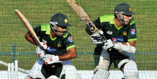 Abdul Haq clean-bowled three Pakistan batsmen in the nets in Abu Dhabi. —AFP Photo