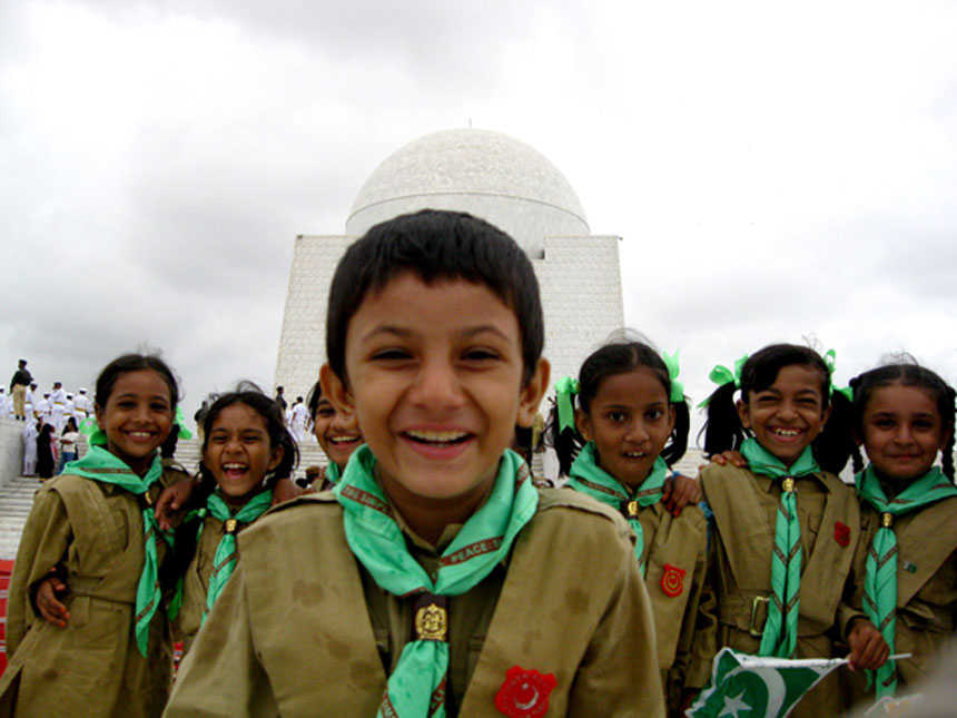 "IN THE SHADOW OF MR. JINNAH<br /> Mr. Jinnah's Mausoleum, Karachi, Sindh<br />  Boy Scouts and Girl Guides visit Mr. Jinnah's Mausoleum on August 14, Pakistan's Independence Day. Mr. Jinnah once said that ""scouting can play a very vital role in forming the character of our youth, promoting their physical, mental and spiritual development and making them well disciplined, useful and good citizens"".<br />  Photographer:  Tahir Jamal"