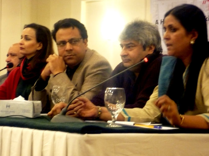Uks Director Tasneem Ahmar speaks at the launch of ?Through the Gender lens? on Monday, December 10, 2010 in Islamabad.