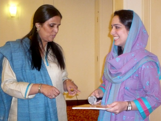 Uks Director Tasneem Ahmar (left) at the launch of ?Through the Gender lens? on Monday, December 10, 2010 in Islamabad.