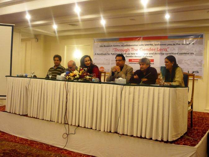 Panelists speak at the launch of ?Through the Gender lens? on Monday, December 10, 2010 in Islamabad.