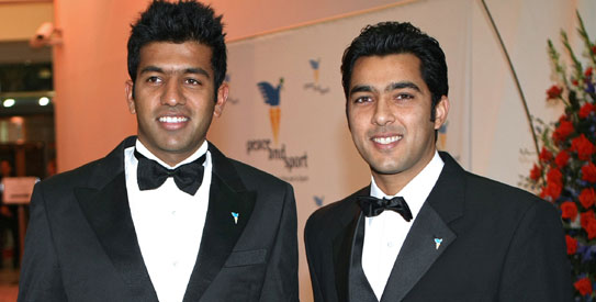 The IndoPak Express — Rohan Bopanna of India and Aisam-ul-Haq Qureshi — at the Peace  and Sport awards function in Monaco. —AFP Photo