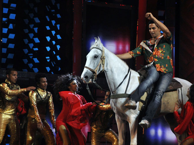 Indian Bollywood actor Akshay Kumar performs on the stage. ? AFP