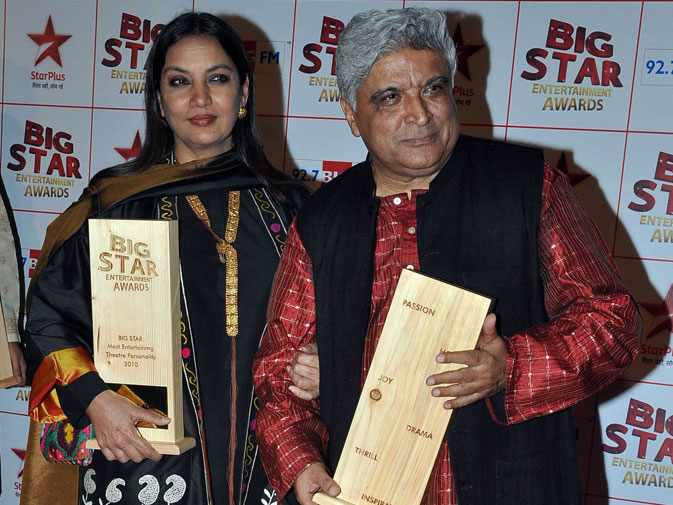 Indian Bollywood actress Shabana Azmi and husband writer and lyricist Javed Akhtar. ? AFP