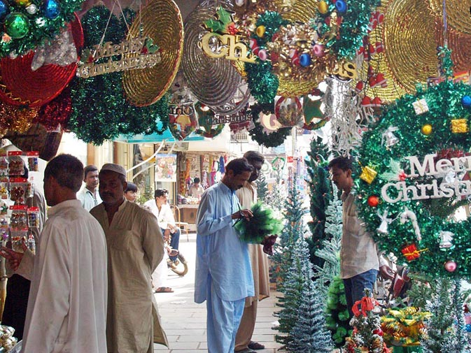 People buy Christmas decorations from shops in Saddar, Karachi. ? ONLINE