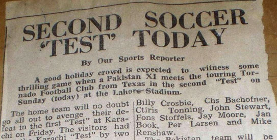 The two matches against Dallas Tornado drew huge crowds in Karachi. —File