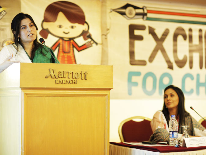 The President of The Citizens Archive of Pakistan (CAP) Sharmeen Obaid Chinoy (L) and CAP board member Swaleha Alam.
