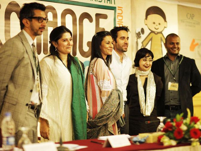(L-R) Photographer Amean J, President CAP Sharmeen Obaid Chinoy, CAP board members Swaleha Alam, Ali Raza, Amber Rauf and Fahad Asadullah.