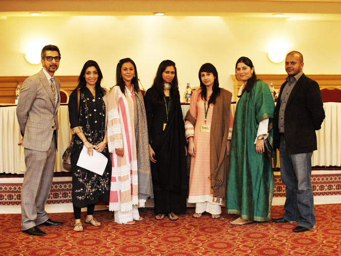 (L-R) Photographer Amean J, CAP board members Sara Taher Khan, Swaleha Alam, Project Director ? Karachi for ?Exchange for Change? Aliya Hashim, Project Director ? Lahore for ?Exchange for Change? Anam Zakaria, President CAP Sharmeen Obaid Chinoy and CAP board member Fahad Asadullah.
