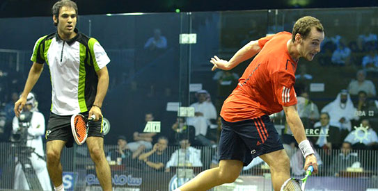 Pakistan's other representative at the World Open, Farhan Mehboob crashed out against Gregory Gaultier of France 11-6, 11-5, 11-4. —Photo courtesy SquashSite.co.uk