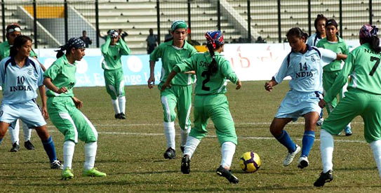 India scored seven of their eight goals in the first half of the SAFF Women's Championship semi-final against Pakistan. —AP Photo