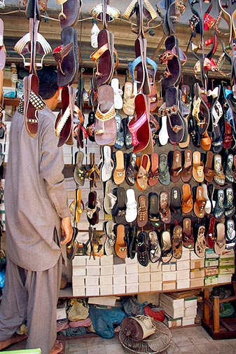 Just like the other parts of Karachi, shoe shops selling saleem shahi, chappal and sandals are very common. One shop that sells naagra shoes was established in 1949. Saleem shahi and naagra shoes or sandals originated in Jaipur, India but become equally popular in Pakistan over time.