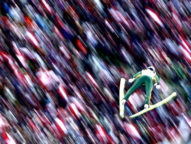 Austria's Gregor Schlierenzauer soars through the air during the third event of the four-hills ski jumping tournament in Innsbruck January 3, 2010. - Photo by Reuters.
