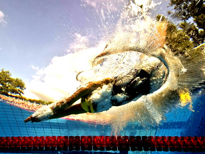 Sweden's Sarah Sjoestroem competes during the women's 100m freestyle final at the European Swimming Championships in Budapest on August 11, 2010. Picture taken with underwater camera. - Photo by AFP.