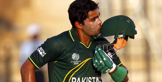 Umar Akmal scored his sixth ODI half-century, first at a World Cup. —Photo by Reuters