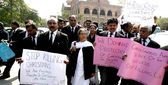 Pakistani lawyers and human rights activists rally to condemn the killing of Christian leader Shahbaz Bhatti outside the LHC on March 7, 2011. ─ AP/File