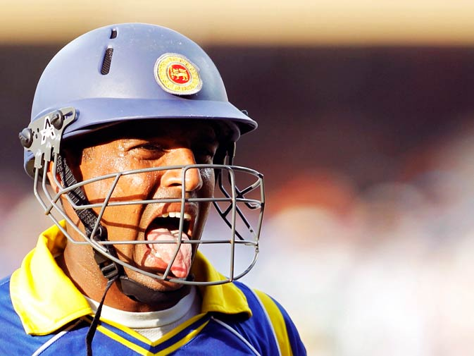 Thilan Samaraweera reacts as he walks off the field after being dismissed. ? Photo by Reuters