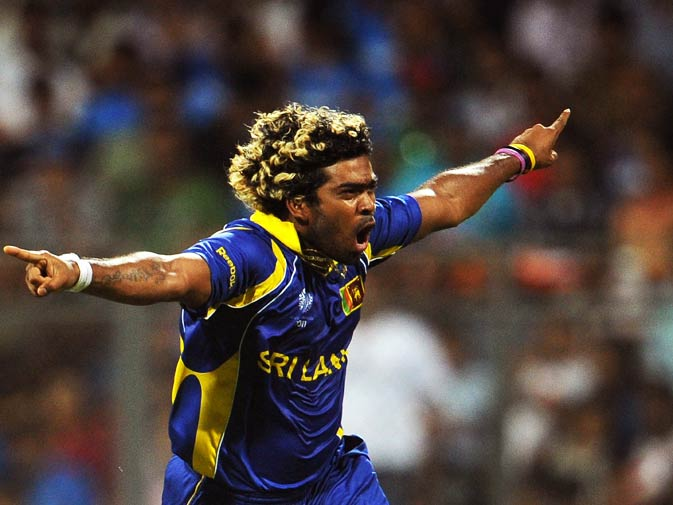 Lasith Malinga celebrates dismissing Sachin Tendulkar. ? Photo by AFP