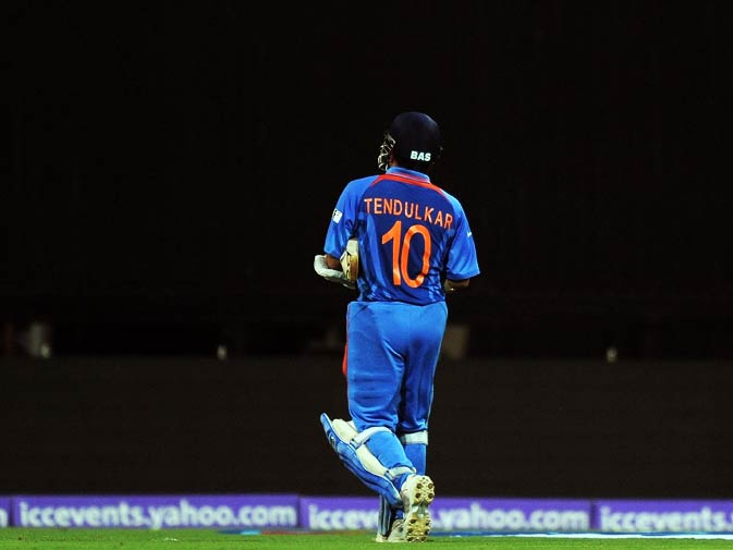 Sachin Tendulkar walks back to the pavilion after his dismissal. ? Photo by AFP