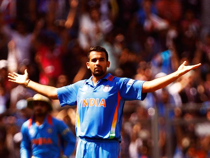 Zaheer Khan celebrates the dismissal of Upul Tharanga. ? Photo by AP