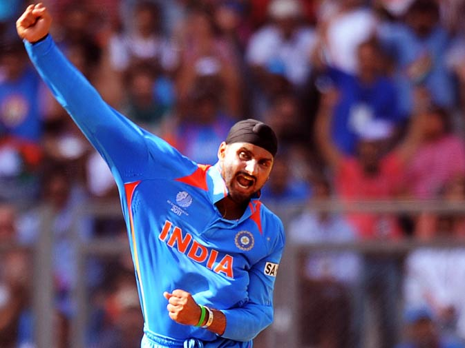 Harbhajan Singh reacts after taking the wicket of Tillakaratne Dilshan. ? Photo by AFP