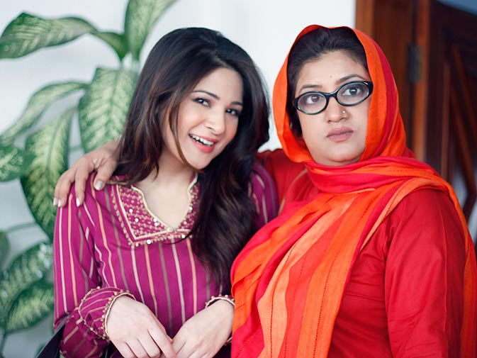 Ayesha Omar: ?Hina Dilpazeer (Momo) plays Nabeel's mother. She came in as a guest actor in one episode. It was an interesting character with an absolutely crazy personality and ended up being such a huge hit among our viewers. And to justify our relationship of three unmarried people living together, we thought ?why not add a mother's role in the play??. This is how the writer planned to marry the characters of Khubsoorat with  Nabeel, and Mehmood Sahab with Momo.