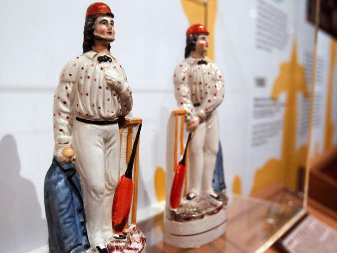 This photo shows a pair of ceramic figures representing All-England Eleven cricketers George Parr and Julius Caesar.