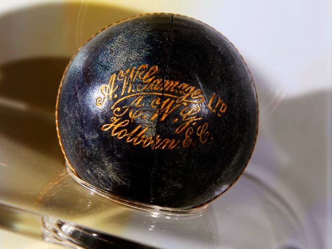 A blue cricket ball from 1897 is on display at the exhibition.