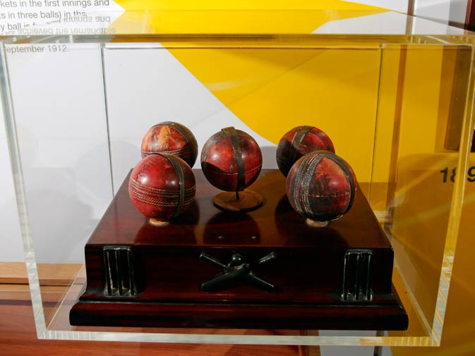Trophy cricket balls from American cricketer Bart King is part of the exhibition.