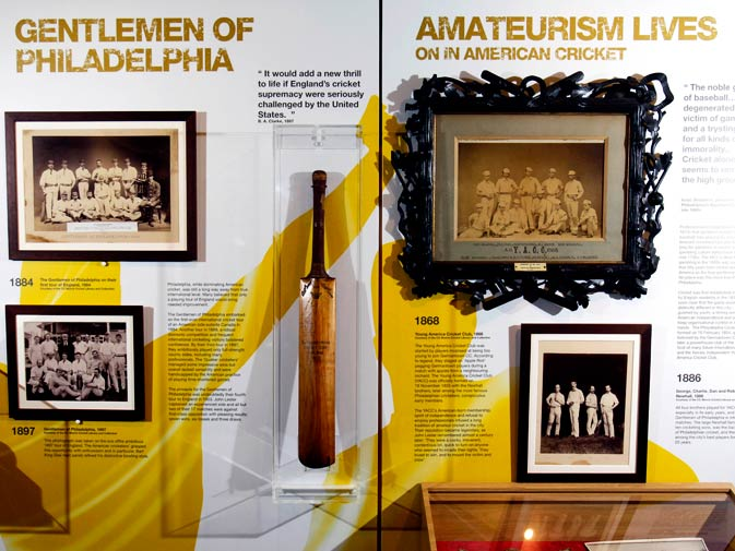 A cricket bat from the Gentlemen of Philadelphia and the Young America Cricket Club is seen in the museum.