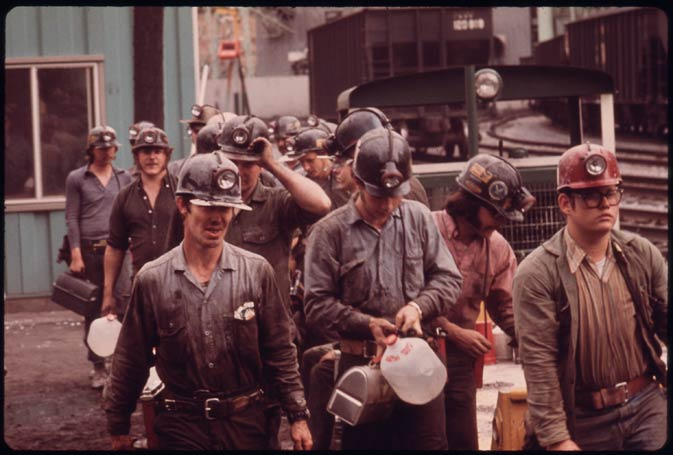 In this April 1974 photo, miners line up to enter the shaft at the Virginia-Pocahontas Coal Company Mine #4 near Richlands, Va.