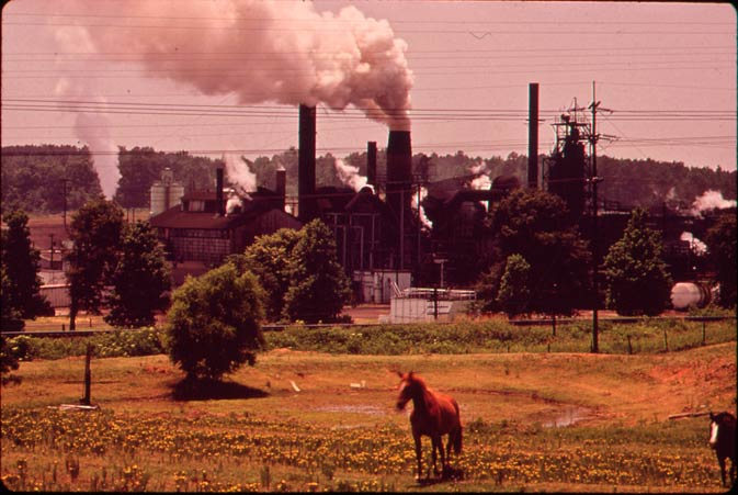 In this June 1973 photo, a chemical plant adjoins a pasture in Marshall, Texas.