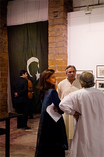 Sherry Rehman chats with friends after viewing the paintings, her daughter Marvi Malik is among the artists exhibiting at the gallery.