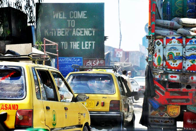 A sign welcoming people to Khyber Agency right beside the Barra market in Peshawar - FATA officially begins once you cross it.