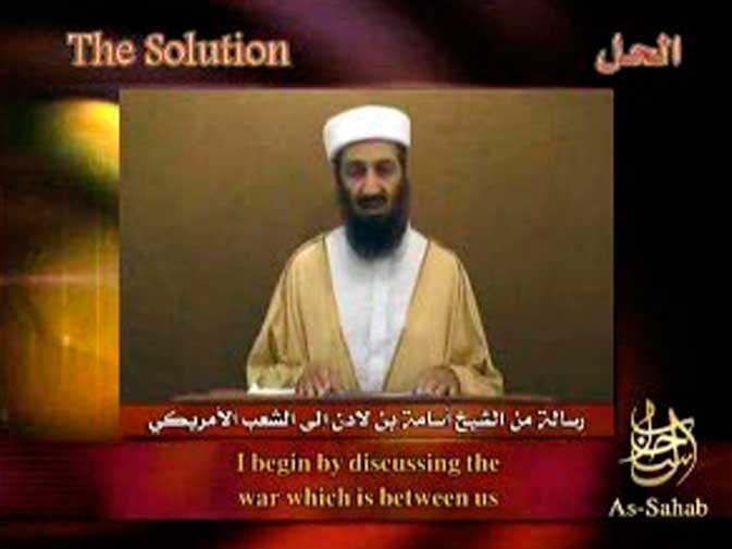Al Qaeda leader Osama bin Laden speaks in this still image taken from video released on a website. In 1991, a US-led alliance launched a war to expel Iraqi forces from Kuwait, which Iraq had occupied the previous year. Bin Laden declared jihad against the United States because it has based forces in his native Saudi Arabia, where Islam's two most holy places are located. ? Reuters (File Photo)