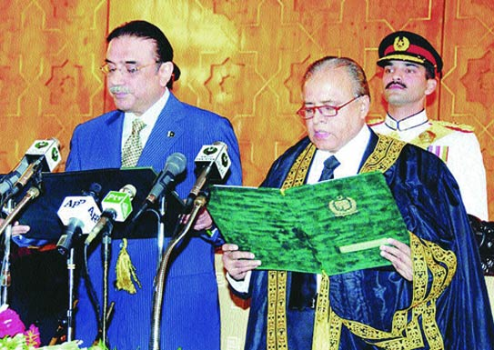 Chief Justice Abdul Hameed Dogar administering oath to President Zardari. - File Photo (Thumbnail illustration by Faraz Aamer Khan/Dawn.com)