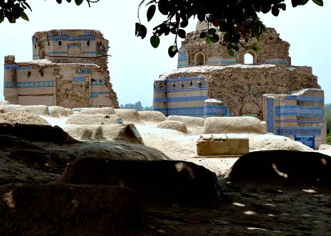 Two of the three interconnected tombs of Bibi Jiwandi.