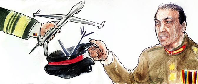 Secret internal American government cables, accessed by Dawn through WikiLeaks, provide confirmation that the US military's drone strikes programme within Pakistan had more than just tacit acceptance of the country's top military brass, despite public posturing to the contrary. In fact, as long ago as January 2008, the country's military was requesting the US for greater drone back-up for its own military operations.<br><br>In a meeting on January 22, 2008 with US CENTCOM Commander Admiral William J. Fallon, Army C