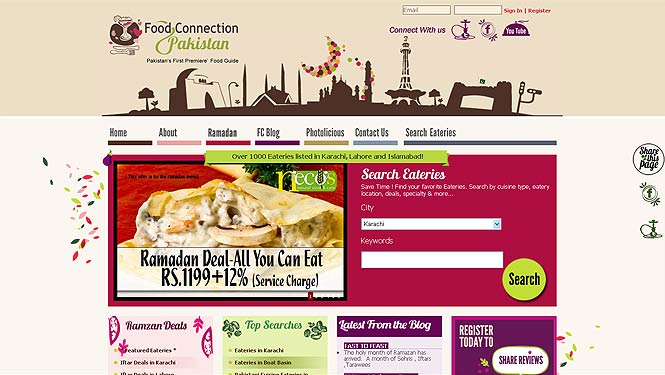 A screenshot of the Food Connection Pakistan website, where users can access the main listings, browse various categorizations, access blogs, and avail various promotions.