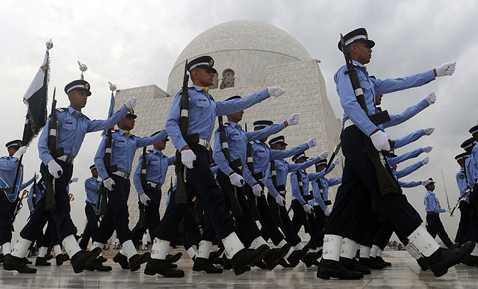 Air Force cadets march at the mausoleum of the country's founder Mohammad Ali Jinnah in Karachi.