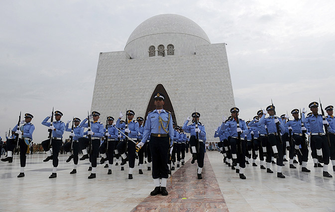 Air Force cadets take part in a ceremony at the mausoleum of the country's founder.
