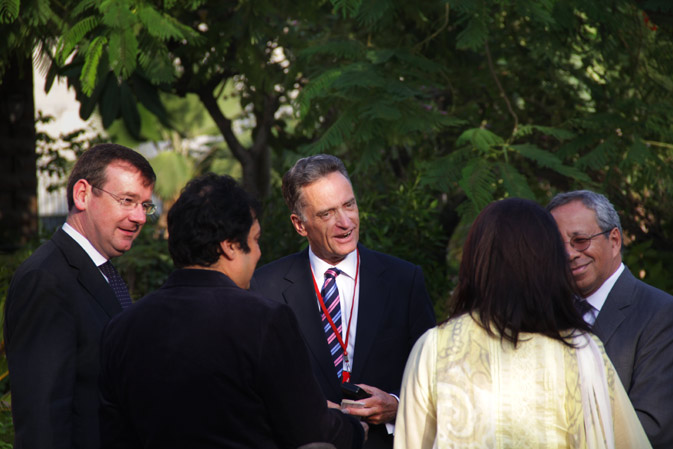Francis Campbell (Left), British Deputy High Commissioner and David Martin (Right), Country Director, British Council Pakistan, mingle with some guests after the launch. Campbell commented that the book itself showcased the ?contribution of a minority faith to wider society?.
