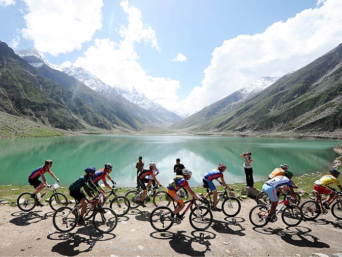 International and local Pakistani cyclists compete in the Himalayas 2011 International Mountainbike Race.