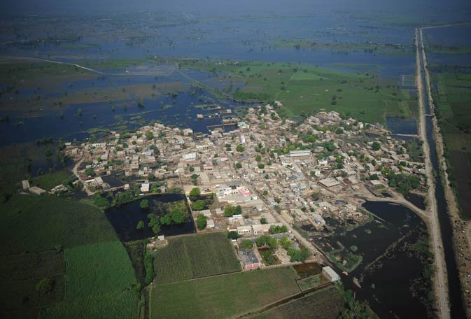 A view of the flood-hit Sanghar district.