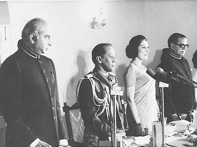 She played the glamourous First Lady's role to the hilt. Seen here, Begum Bhutto with President Fazal Illahi Chaudhry and PM Zulfikar Ali Bhutto at a banquet given in their honour by their Majesties Tuanku Abdul Halim Muadzam Shah of Malaysia and the Raja Permaisuri Agong.  ? Dawn File Photo