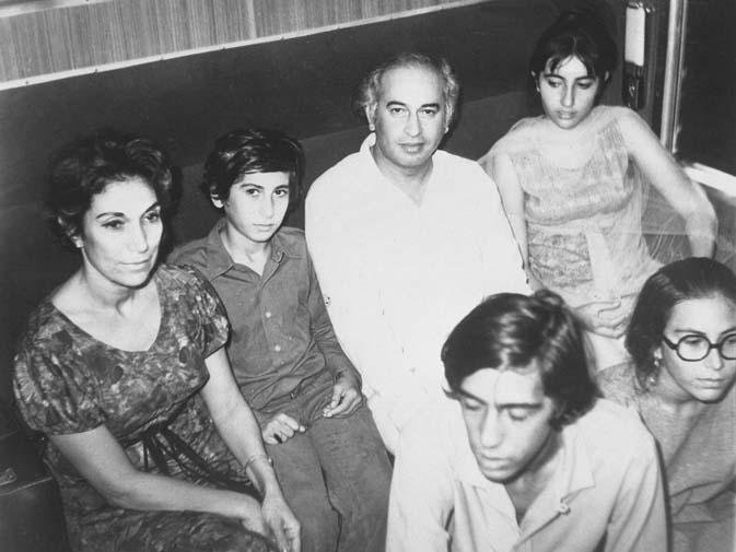 Zulfikar Ali Bhutto and Nusrat Bhutto with their children Benazir, Murtaza, Shahnawaz and Sanam. ? Dawn File Photo
