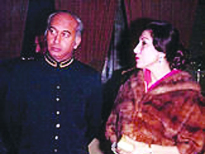 Nusrat Bhutto and Zulfikar Ali Bhutto at an event. Nusrat became closely involved in politics and organised the women's wing of the Pakistan People's Party. She showed real mettle when she confronted then military ruler Gen Ziaul Haq after his July 5, 1977 coup by leading the PPP and a campaign that forced the dictator to postpone for years an election he had promised to hold within 90 days, and remained dauntless, even when Mr Bhutto was executed in the Rawalpindi Central Jail in 1979 after a controversial conspir