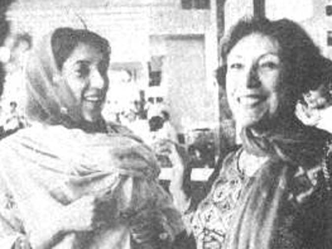 Begum Bhutto and BB share a tender moment. ? Dawn File Photo